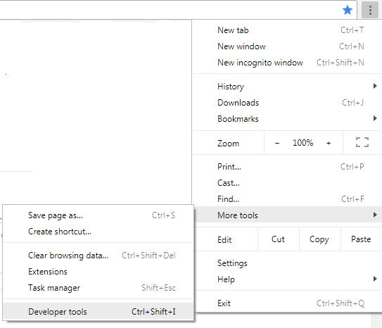 not fully secure - menu showing how to select developer tools (in chrome)