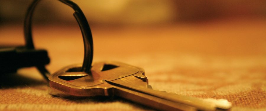 door key lying on a table mat